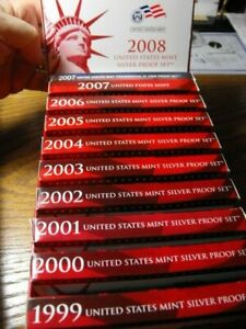 1999 - 2008 Silver Proof Sets in Custom Box