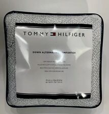 Tommy Hilfiger Down Alternative Comforter Hypoallergenic Quilted white spell out