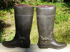 MK Michael Michael Kors Fulton Harness Tall Rubber Rain Boot Size 10 BlackCoffee