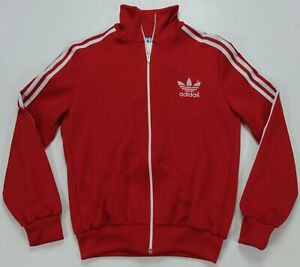 Rare Vintage ADIDAS Spell Out Trefoil Full Zip Track Jacket 80s 90s Red Youth XL