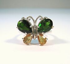Butterfly Ring CHROME DIOPSIDE & SAPPHIRE 4.34 CTW sz 7.25  GOLD over 925 SILVER
