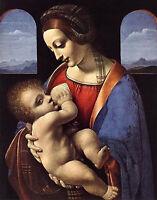 """Oil painting leonardo-da-vinci-madonna-litta handpainted on canvas 36"""""""
