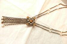 With Amber Stones & Pearls - New Virgin Vie Heirloom Necklace - Vintage Design