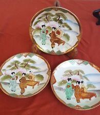 Set of three vintage hand painted TT saucers from Japan, Takito Co. 1921-41