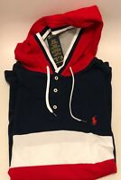 NWT Polo Ralph Lauren Men's Color-Blocked Mesh Hooded Shirt Red Blue White Sz XL