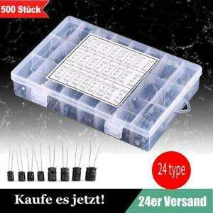 500 Stk. Elkos Elektrolyt Kondensatoren Capacitors Sortiment 0,1-1000UF Kits HOO