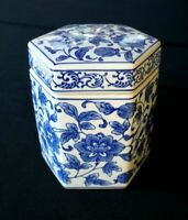 A Beautiful Vintage Blue And White Six Sided Jar