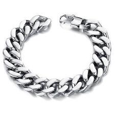 Edelstahl Massiv Panzerarmband Herren Armband Armkette Armreif Silber 22 cm