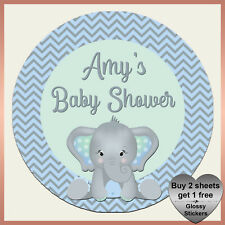 Personalised BABY SHOWER ELEPHANT Stickers - Chevron Birthday Party Labels