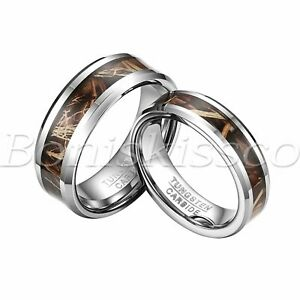 Men's Women's Antlers Hunt Camouflage Tungsten Ring Wedding Band Valentines Gift