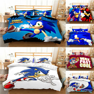 3D Sonic Duvet cover Pillowcase Bedding set Single Double Childrens gift Cartoon