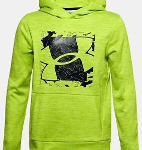 NWT - UNDER ARMOUR Boy's 'ARMOUR' Yellow COLDGEAR 1357581 FLEECE HOODIE - L