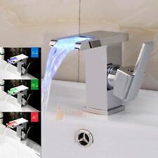 LED RGB Bathroom Sink Mixer Tap Waterfall Basin Faucet Brass Temperature Sense