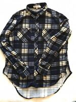 Anthropologie Eden & Olivia Soft Flannel Button Down Shirt Blue Plaid Size Small