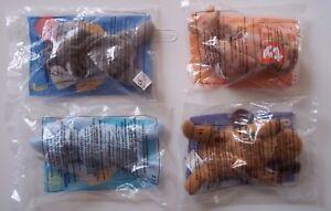 New Set of 4 McDonald's Beanie Baby Toys PLUSH Beanie MEL BONGO PEANUT BONES