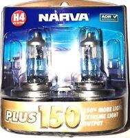 NARVA H4 +150% PLUS 150 HALOGEN LIGHT BULBS GLOBES NEW 12V 48382BL2