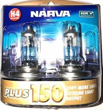 NARVA H4 +150% PLUS 150 HALOGEN LIGHT BULBS HEADLAMP GLOBES NEW 12V 48382BL2