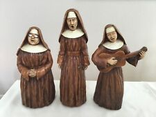 VINTAGE 1968 PROGRESSIVE ART PRODUCTS LARGE CHALK WARE FIGURES ~ 3 SINGING NUNS