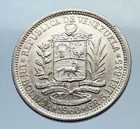 1960 Freemason President Simon Bolivar VENEZUELA Founder Silver Coin i71637