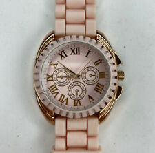 E Pastel Pink Rose Gold Jelly Watch Glam Date Untested