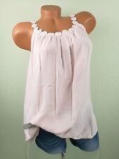 ♥ Italy TOP Tunika Shirt Damen Häkelspitze rosa PERLEN 38 40 42 44 S M L F62