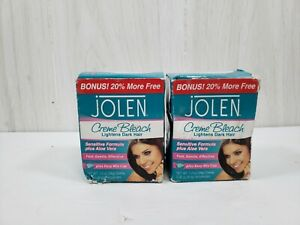 2-Pack Jolen Creme Bleach Sensitive Formula Plus Aloe Vera, 1.2 oz each open box