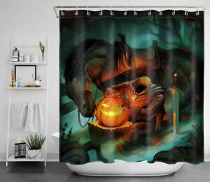"""Halloween Night Headless Horseman Pumpkin Waterproof Fabric Shower Curtain 72"""""""