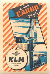 Air Cargo Pays!  KLM ROYAL DUTCH AIRLINES - Great DECO Luggage Label, c. 1950