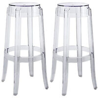 """2 Round Polycarb Charles Ghost Bar Stools Clear Transparent 29.5"""" Bar Height"""
