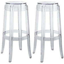 "2 Round Polycarb Charles Ghost Bar Stools Clear Transparent 29.5"" Bar Height"