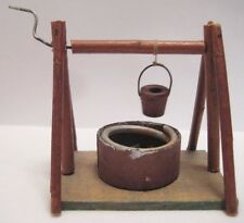 Old Early 1920s Wooden German Farm Well w/ water bucket - Christmas Putz Village