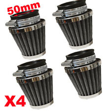 4X 50mm Car Motor Cold Air Intake Filters POD For Honda Suzuki Kawasaki Yamaha