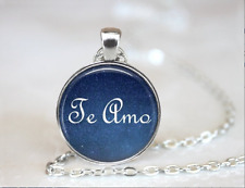 Te Amo collar I love you in Spanish love Tibet silver pendant chain Necklace