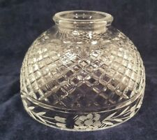 Vintage Etched Floral Diamond Cut Glass Light Lamp Shade