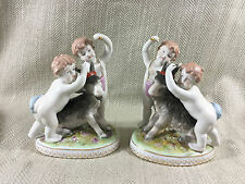 Porcelain Figurine Figural Group Cherub & Goat Continental Hand Painted