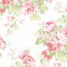 Grand Floral Wallpaper Pink, Green Norwall Wallcovering AB27612