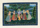 Lord Krishna Painting Krishna Dancing With Gopi's Handmade Hindu Religion Art