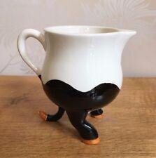 Carlton Ware Lustre Pottery Michell Black White Cow Milk Jug Creamer IMMACULATE