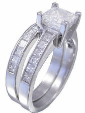 18K WHITE GOLD PRINCESS CUT DIAMOND ENGAGEMENT RING AND BAND 2.20CTW H-VS EGL US