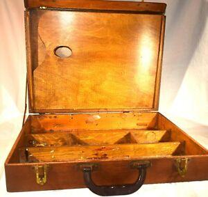 Vintage Artist Paint Palette and Brush Wooden Travel Box