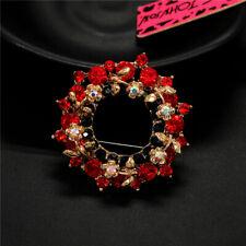 Rhinestone Betsey Johnson Woman Brooch Pin Pretty Red Crystal Wreath Ab Shiny