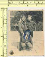 #066 Three Boys Kids Children, Drawing Over Face Abstract vintage photo original