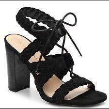 BCBG BCBGeneration Lorette -X Black Suede Lace Up Sandals Womens 8.5 *NEW*