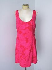 Free People Neon Pink Red Floral Cotton Linen Twill Sleeveless Shift Dress 12