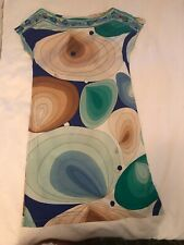 Flora Kung 100% Silk Multi Colored Mod Art Print Signed Stretchy Dress Sz 6