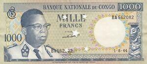 Congo, Democratic Republic of Congo, 1000 FRANCS 1964, P8, XF++, Cancelled