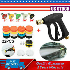 High Pressure Washer Spray Gun w/ 5 Nozzle Tip+22 Buffing Pads Car Wash Cleaning