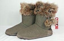 Bongo Women Knit Boots sweater suede slipper pull on faux fur New Sz M 6.5-7.5
