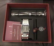Accurist Mens Diamond Set Dial Bracelet Watch & Pen Set MB1121 New With Gift Box