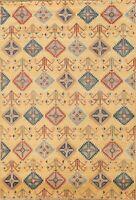 Geometric Super Kazak Vegetable Dye Handmade Oriental Area Rug Wool Carpet 6'x9'